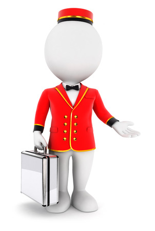 doorkeeper: 3d white people bellboy, isolated white background, 3d image