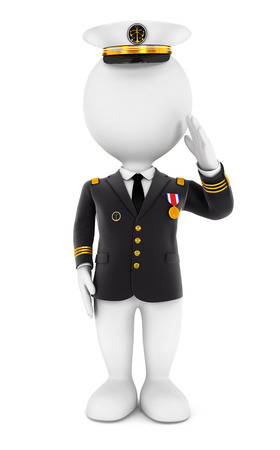 admiral: 3d white people lieutenant standing to attention, isolated white background, 3d image