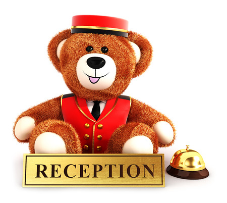 bellboy: 3d teddy bear bellboy, isolated white background, 3d image