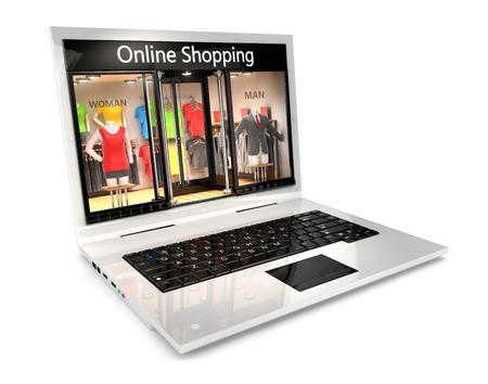 3D 온라인 쇼핑 개념, 흰색 배경, 3D 이미지 스톡 콘텐츠