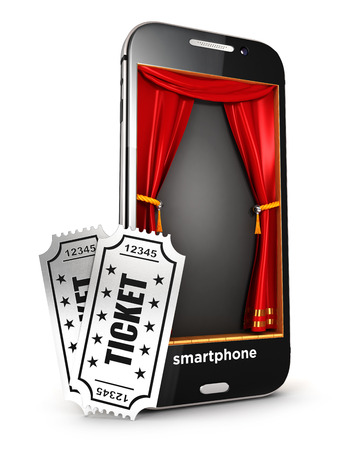 cinema ticket: 3d smartphone stage and tickets, isolated white background, 3d image
