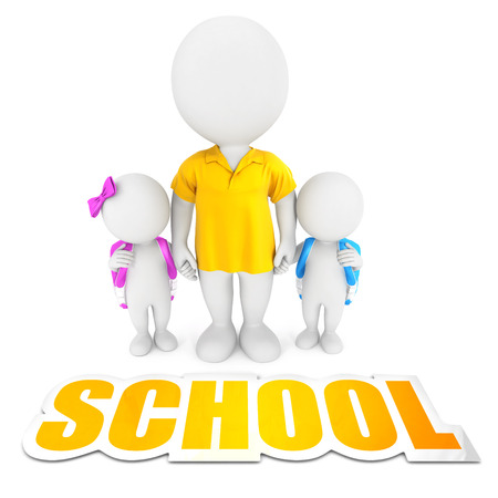 bringing: 3d white people bringing children to school, isolated white background, 3d image Stock Photo