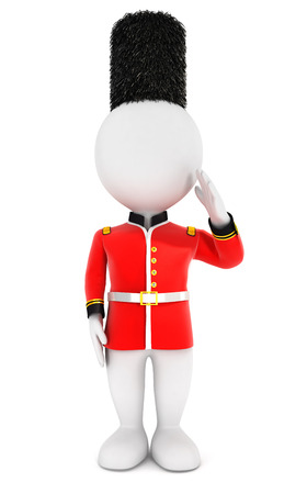 royal guard: 3d white people royal guard, isolated white background, 3d image