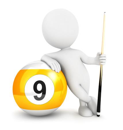 nombres: Les blancs 3d neuf boule de billard, fond blanc isol�, image 3D