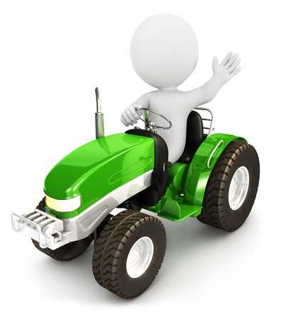 agronomics: 3d white people tractor, isolated white background, 3d image Stock Photo