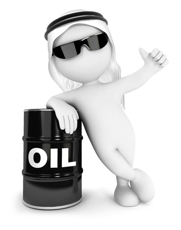 isolated white background: 3d white people emir with a barrel of oil, isolated white background, 3d image Stock Photo