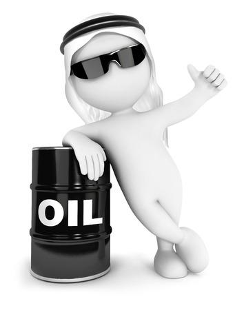 bonhomme blanc: Les blancs 3d Emir avec un baril de pétrole, fond blanc isolé, image 3d