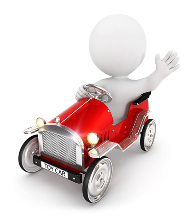 3d white people toy car, isolated white background, 3d image
