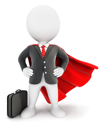 invincible: 3d white people businessman superhero isolated white background 3d image Stock Photo