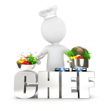hombre cocinando: Los blancos cocinero 3d fondo blanco aislado imagen 3d Foto de archivo