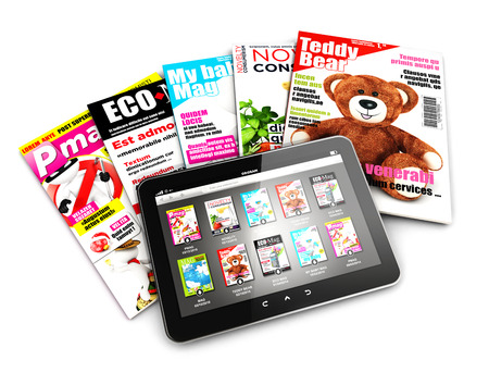 newsstand: 3d stack of magazines and tablet isolated white background 3d image