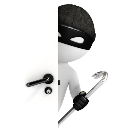 3d white people thief looking behind the door isolated white background