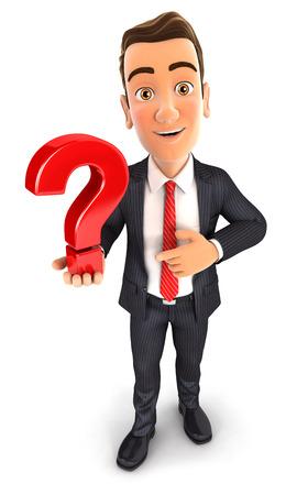 3d zakenman houdt een vraagteken, witte achtergrond Stockfoto