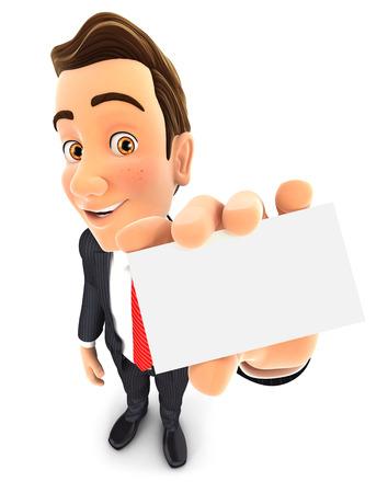 3d zakenman houdt visitekaartje, witte achtergrond