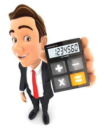 3d zakenman rekenmachine, geïsoleerde witte achtergrond