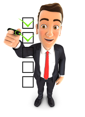 3d businessman checklist, isolated white background 版權商用圖片