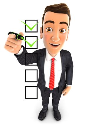 3d zakenman checklist, geïsoleerde witte achtergrond