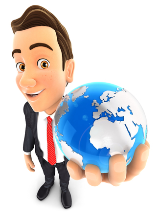 3d businessman holds blue earth, isolated white background