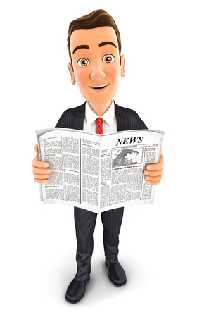 standing man: 3d businessman with a newspaper, isolated white background