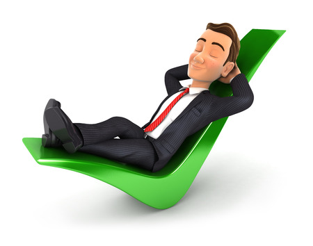 3d businessman relaxed on a check mark, isolated white background