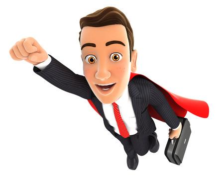 superhero: 3d businessman superhero, isolated white background