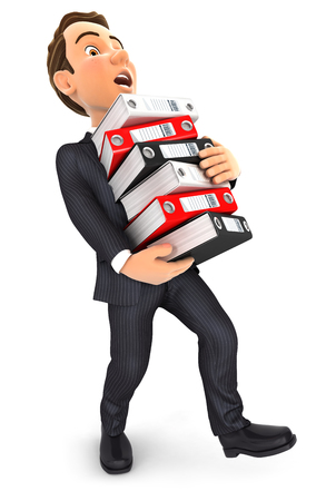 overworked: 3d businessman overworked holding stack of binders, isolated white background