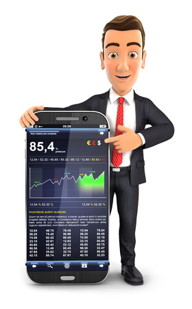 3d businessman statistics smartphone, isolated white background