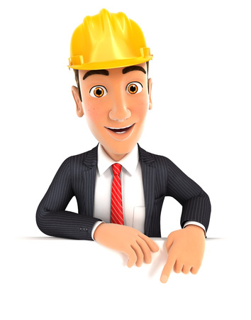 foreman: 3d foreman pointing to empty wall, isolated white background