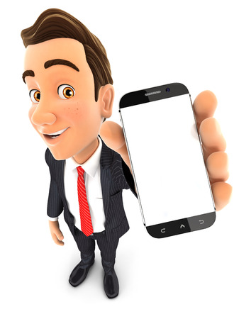 3d businessman holding smartphone in hand, isolated white background