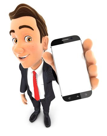 3d zakenman die smartphone in de hand, geïsoleerde witte achtergrond Stockfoto