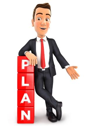 3d zakenman leunend tegen dobbelstenen met het woord plan, witte achtergrond