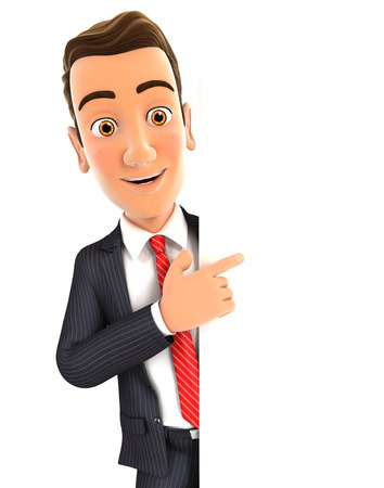 3d: 3d businessman pointing to right blank wall, isolated white background