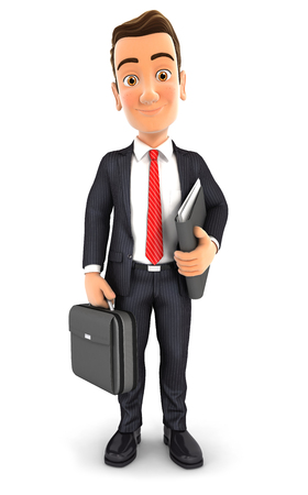 3d businessman with a briefcase and files, isolated white background Stockfoto