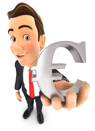 hands holding sign: 3d businessman holding the euro sign, isolated white background