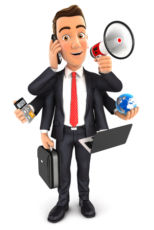 3d businessman multitasking with six arms, isolated white background