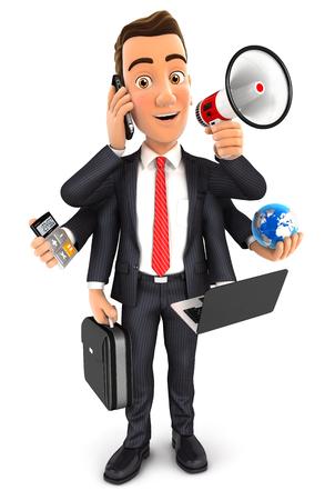 3d zakenman multitasking met zes armen, witte achtergrond Stockfoto