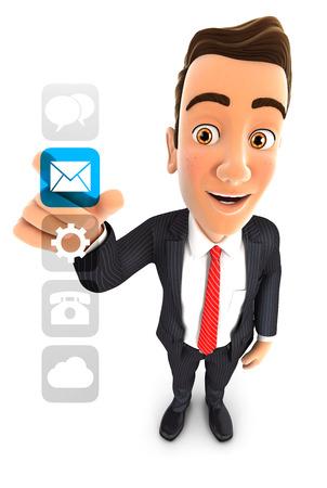 3d zakenman toepassingen-interface, geïsoleerde witte achtergrond