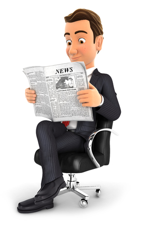 article of clothing: 3d businessman sitting on chair and reading a newspaper, isolated white background