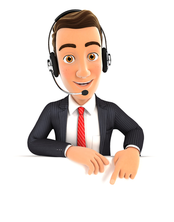 headset: 3d businessman with headset pointing to empty wall, isolated white background Stock Photo