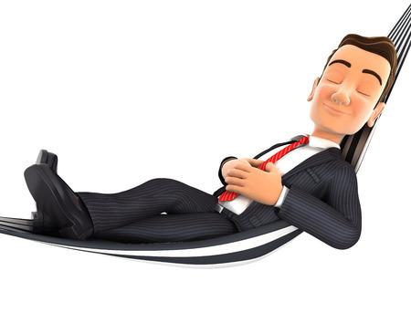 3d zakenman neemt een dutje in een hangmat, geïsoleerde witte achtergrond