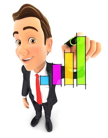 3d zakenman hand getrokken grafiek, witte achtergrond