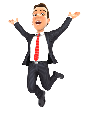 3d businessman jumping for joy, isolated white background
