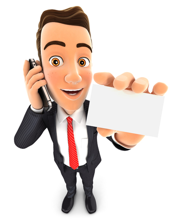 3d businessman on the phone and holds blank card, isolated white background Banque d'images