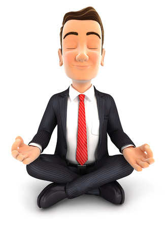 3d businessman doing yoga, isolated white background Banque d'images