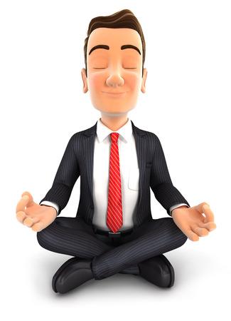 3d zakenman doet yoga, geïsoleerde witte achtergrond Stockfoto