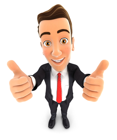3d businessman with thumbs up, isolated white background