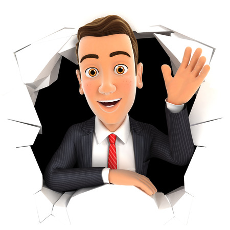 3d businessman waving hand through hole in wall, isolated white background Banque d'images