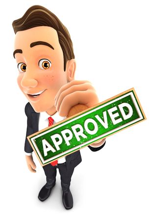 approved stamp: 3d businessman holding approved stamp, isolated white background