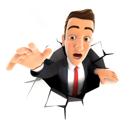 grounds: 3d businessman falling down into a hole, isolated white background