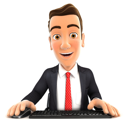 looking at computer: 3d businessman looking at his computer, isolated white background